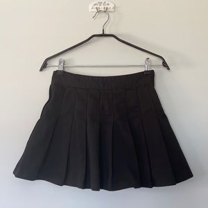 Black Denim Pleated Skirt